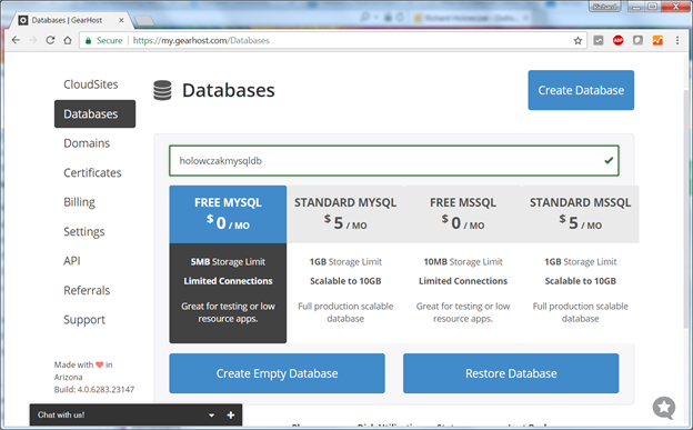 Getting Started with GearHost for MySQL Database Development