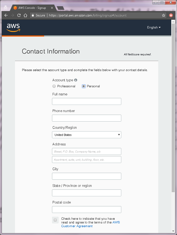 Creating an Amazon Web Services Account for student use with
