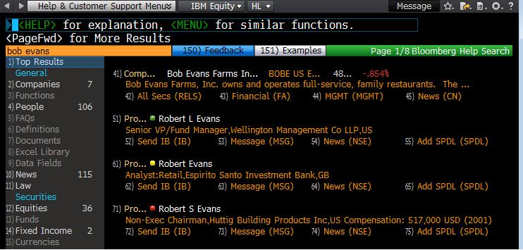 Bloomberg Help Screen For Bob Evans
