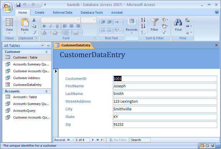 Customer Data Entry Form