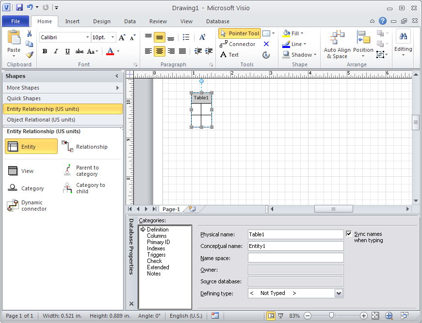 drawing e r diagrams with crow    s foot notation using microsoft     new entity on visio diagram