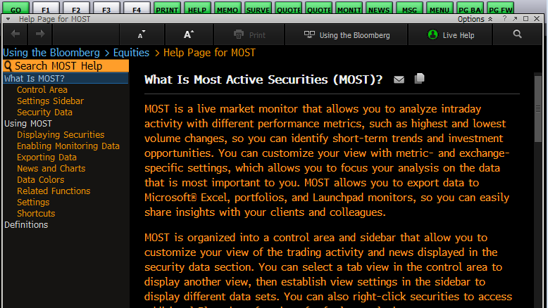 Bloomberg Help On Most Actives Screen