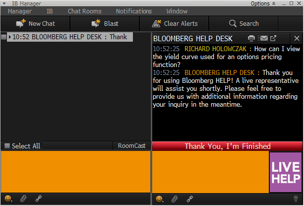 Amazing Bloomberg Live Help Chat Screen. Idea